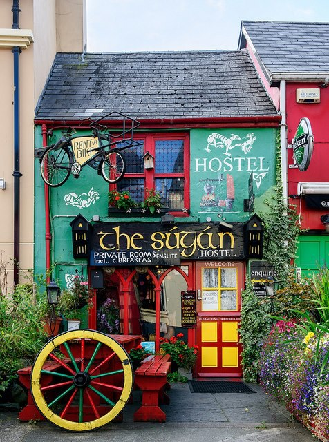 Colorful hostel in Killarney, Ireland (by philhaber)