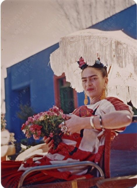 On the patio of the Blue House-1950s by: Florence Arquin