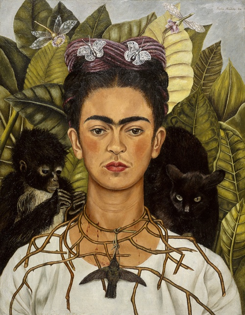 Self Portrait with Monkey, Necklace of Thorns and Hummingbird, 1940.