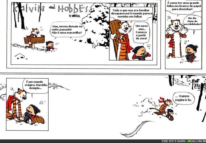 Última tira da série desenhada por Bill Watterson. Imagem e tradução: BrGag.