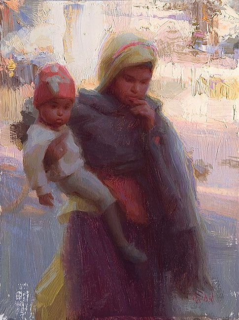 En Route for Day's Errands-India, Oil Susan Lyon
