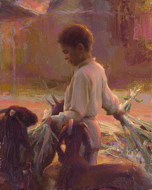 Susan Lyons -Feeding Goats- oil, India