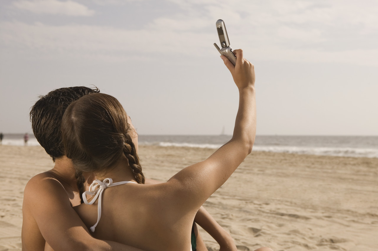 Teens Taking Self Portrait with Camera Phone
