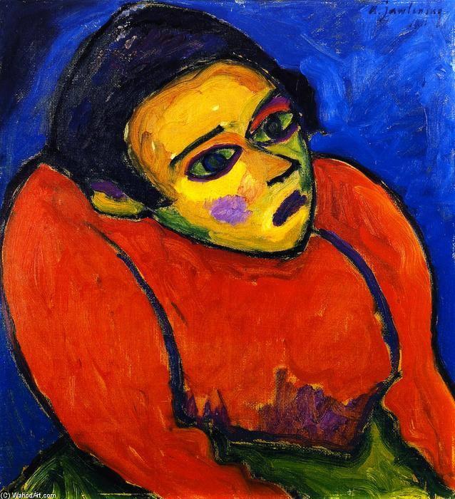 """A mulher corcunda (também conhecido como Hunchback II)"" Alexej Georgewitsch Von Jawlensky - óleo sobre painel - 54 x 49 cm - 1911 - (Private collection)"