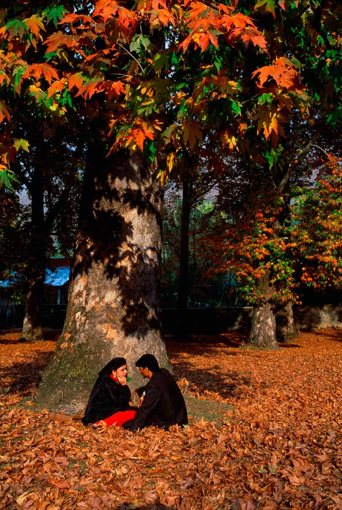 "Shalimar Gardens, Srinagar, Kashmir, 1999 A couple relaxes under chinar tree. The Chinar tree is an integral part of Kashmiri culture. The tree is at its most elegance and exuberance during autumn. Though its majesty can be seen all through the year. Iqbal, the poet of the East, traces the warmth of the Kashmir soil to the ""blaze of Chinars it nurses in its bosom""."