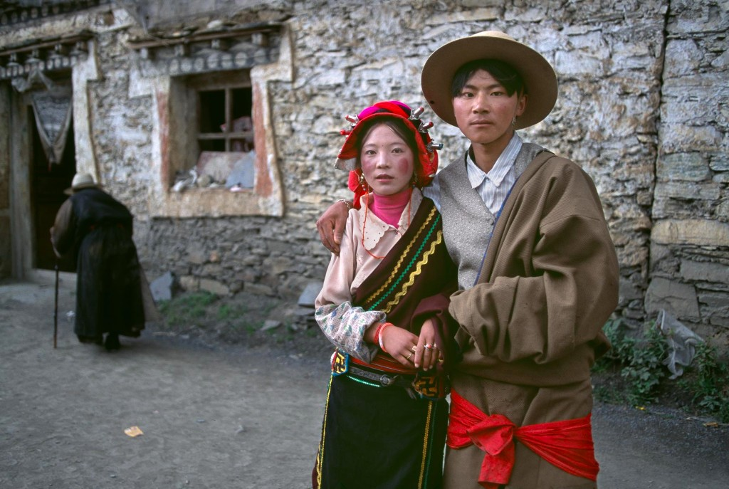00102_06, Young couple proudly pose at a Horse Festival, Tagong, Kham, Tibet, 1999, TIBET-10119