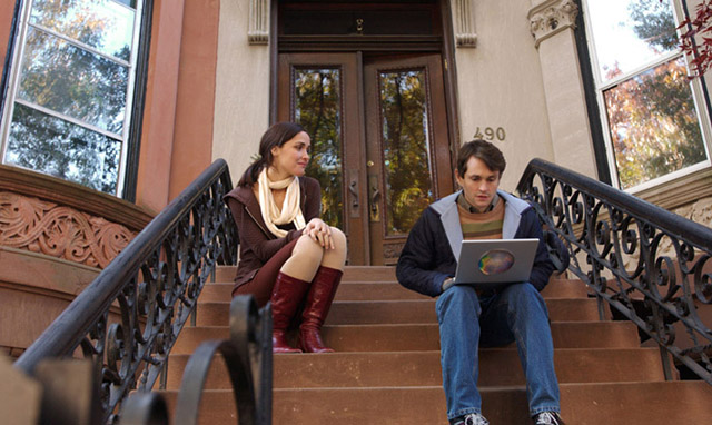 Adam sits on front stoop, Beth comes to talk
