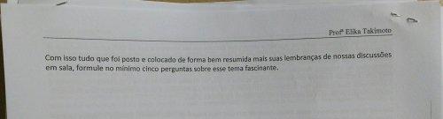 PROPOSTA DA AVALIAÇÃO DA PROFESSORA ELIKA