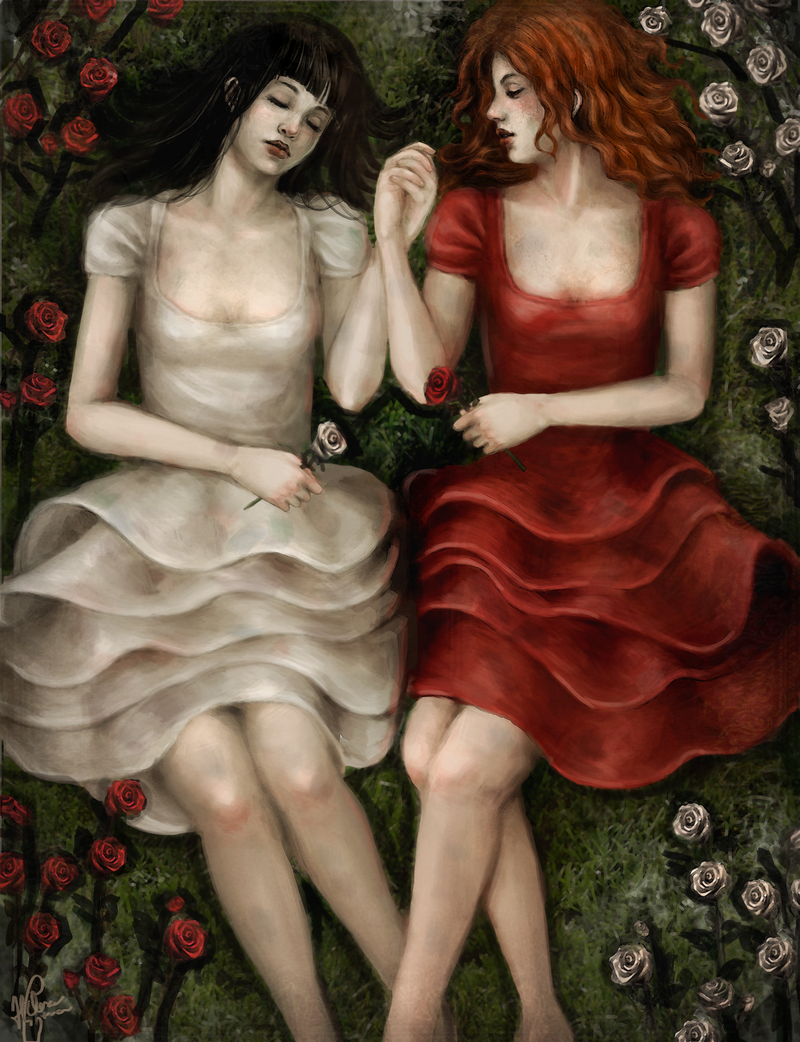 contos-malditos-branca-de-neve-snow_white_and_rose_red_by_akaisoul