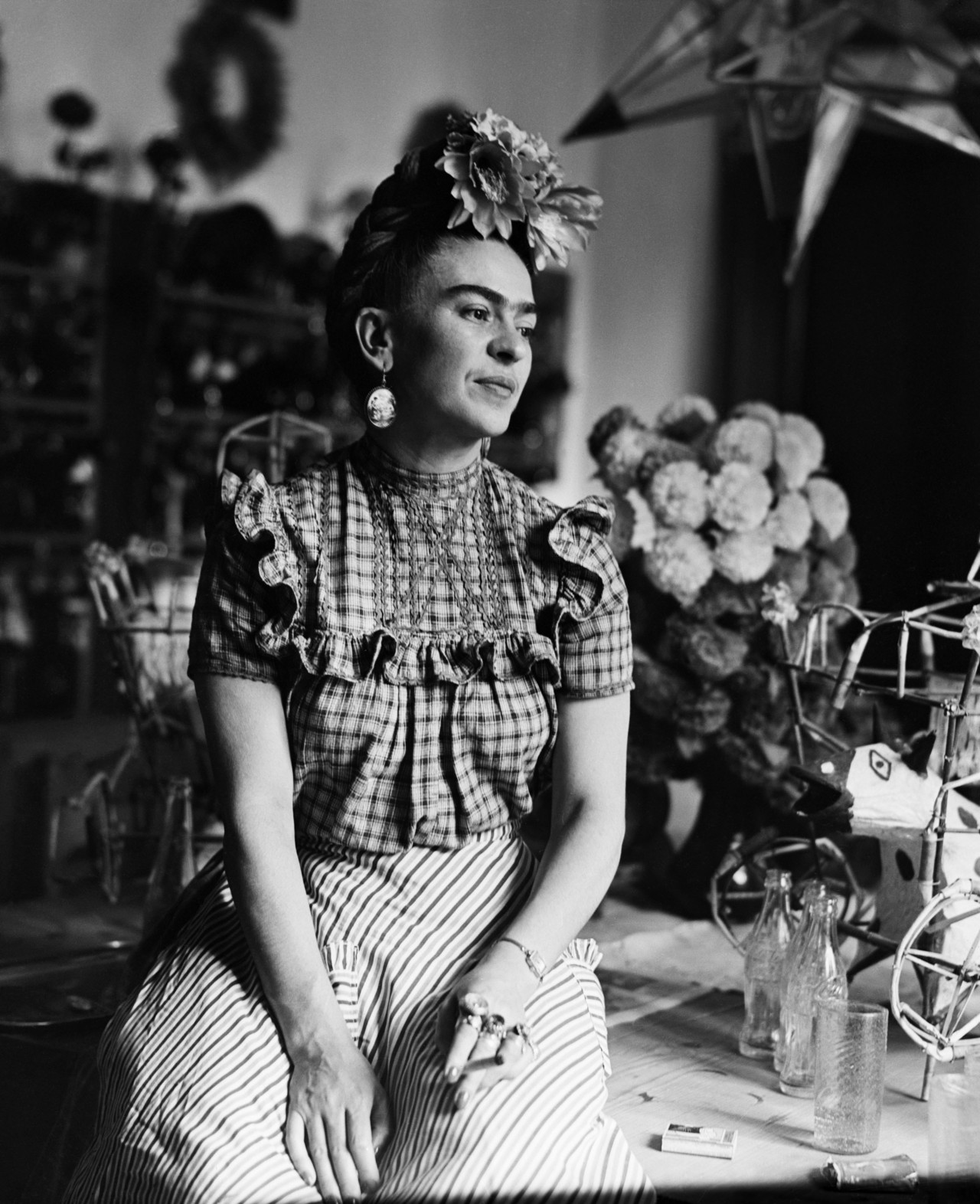 Original Caption: 1944: Photograph of Frida Kahlo (1910-1954), Mexican painter and wife of Diego Rivera.
